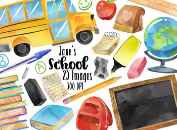 Watercolor school. Supplies clipart