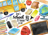 Watercolor School Supplies Clipart