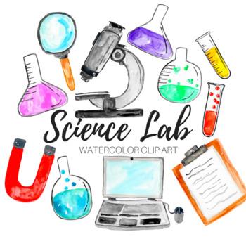 watercolor science lab clip art set by writelovely tpt rh teacherspayteachers com science lab clip art warning signs science lab clipart black science teacher