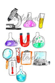 Watercolor Science Lab Clip art Set