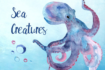 Watercolor Sea Creatures Clipart Set