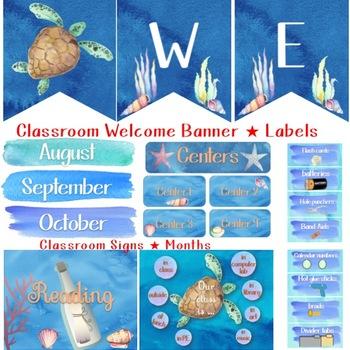 Ocean Watercolor Classroom Decor MEGA Bundle-Editable!