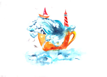 Watercolor Sea in Cup Illustration