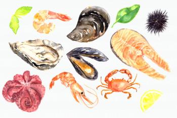 Watercolor Seafood Clip Art Set