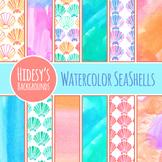 Watercolor Seashells / Sea Shells Backgrounds / Digital Papers Clip Art