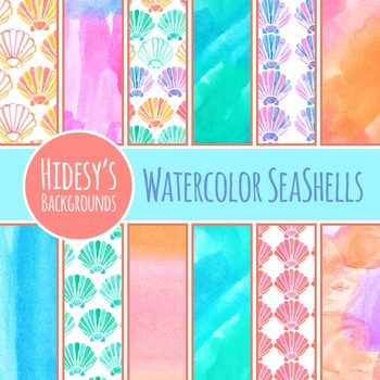 Watercolor Seashells / Sea Shells Backgrounds / Digital Papers Clip Art