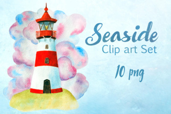 Watercolor Seaside Clip Art Set