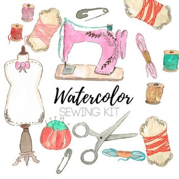 Watercolor Sewing Craft Clipart