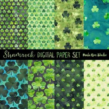 Watercolor Shamrock Digital Paper