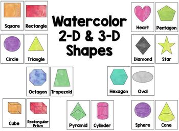 Watercolor 2-D & 3-D Shapes