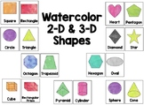 Watercolor 2-D & 3-D Shapes