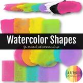 Watercolor Shapes Brights Digital Clip Art