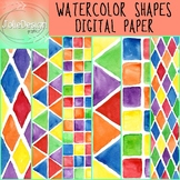 Watercolor Shapes Digital Paper - Primary Brights, 6 pc Ba