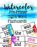 Watercolor Sight Word Flash Cards