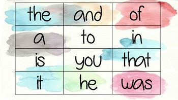 Watercolor Sight Words (Frys 1-200)