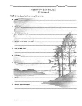 Watercolor Skill Review Sheet