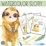 Watercolor Sloth Classroom Decor EDITABLE Binder Covers and Spines