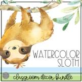 Watercolor Sloth EDITABLE Classroom Decor BUNDLE