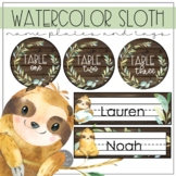 Watercolor Sloth EDITABLE Name Plates, tags and labels