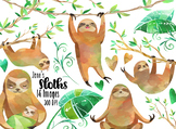 Watercolor Sloths Clipart