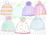 Watercolor Snow Hat Toboggan Digital Clip Art Set