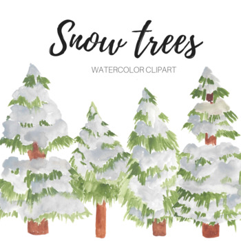 Snow watercolor. Pine trees clipart