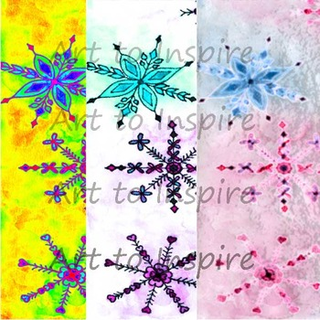 Watercolor Snowflake 3 Digital Papers--Bulletin Boards--Winter backgrounds