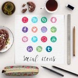Watercolor Social Media Buttons, Social Media Icons, Color