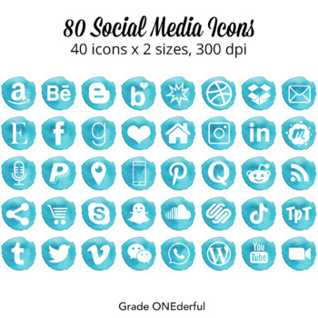Watercolor Social Media Icons: Aqua | Turquoise | 2 sizes | 24 different icons