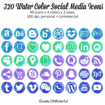 Watercolor Social Media Icons | Blue, Green, Aqua, Purple | 200 Social Icons