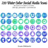 Watercolor Social Media Icons   Blue, Green, Aqua, Purple