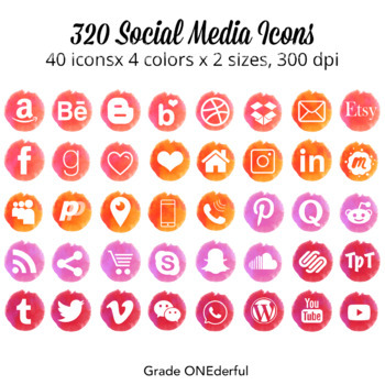 Watercolor Social Media Icons | Pink, Red, Coral, Orange |