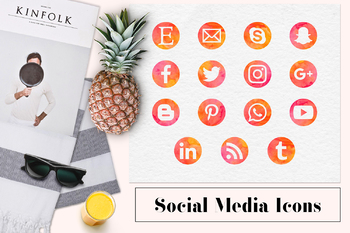 Watercolor Social Media Icons, Social Media Buttons, Red & Orange Icons