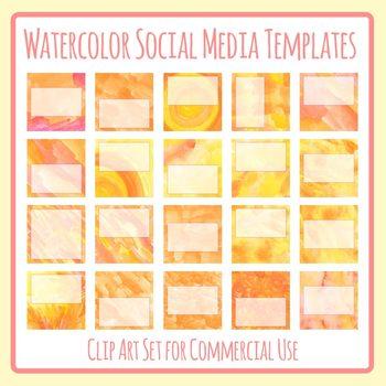 Watercolor Social Media Image Templates - Instagram, Facebook, etc - Copy Space
