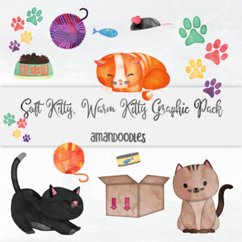 Watercolor Soft Kitty, Warm Kitty Clipart Digital Download