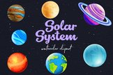 Watercolor Space Clipart, Watercolor Planets Clipart, Solar System Images