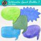 Watercolor Speech Bubble Clip Art {Hand-Painted Rainbow Bubbles, Cool Colors}