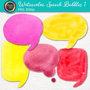 Watercolor Speech Bubble Clip Art {Hand-Painted Rainbow Bubbles, Warm Colors}