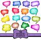 Watercolor Speech Bubble Clip Art Set