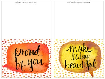 Watercolor Speech Bubble Inspirational Note Cards