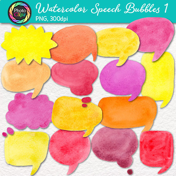Watercolor Speech Bubbles Clip Art Bundle {30 Hand-Painted Rainbow Bubbles}