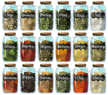 Watercolor Spice Jars Clipart