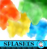 Watercolor Splashes Clip Art Page Design Elements