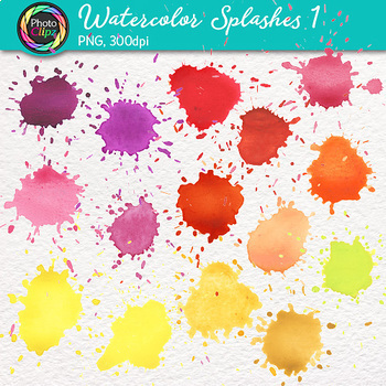 Watercolor Splashes Clip Art Bundle {Hand-Painted Watercolor Splatters}
