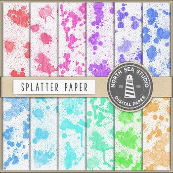 Watercolor Splatter Digital Paper {Pretty Graphics}