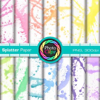 Watercolor Splatter Paper {Rainbow Digital Backgrounds for Resources}