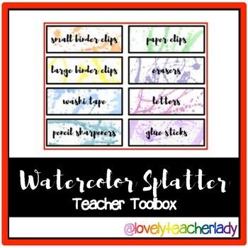 Watercolor Splatter Teacher Toolbox Labels - Editable!