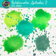 Watercolor Splashes Clip Art {Hand-Painted Watercolor Splatters in Cool Color} 2