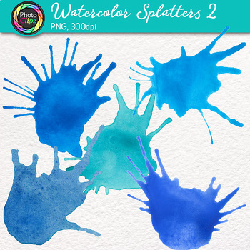 Watercolor Splatters Clip Art {Hand-Painted Watercolor Splashes in Cool Color} 2