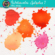 Watercolor Splashes Clip Art {Hand-Painted Watercolor Splatters in Warm Color} 1